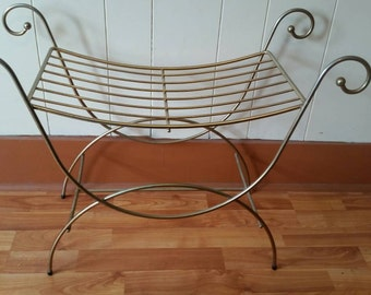 Vintage Brass Vanity Stool/ Vintage Brass Vanity Bench/ Brass Wire Vanity  Stool/ Brass