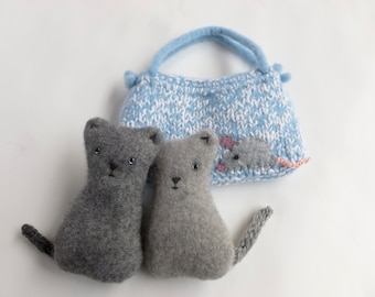 Two little kittens in a wool pouch set Waldorf inspired ready to ship