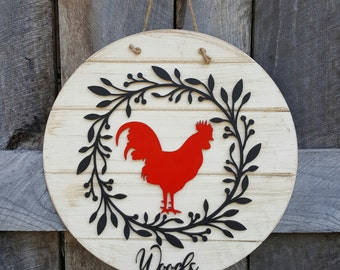 Rooster Door Hanger - Rooster Wall Hanging - Chicken Decor - Farmhouse Decor
