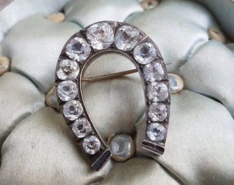 Victorian Lucky Horseshoe Paste Brooch