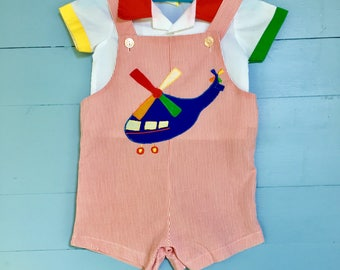 Vintage 1980s Baby Boy Summer Outfit, Size 3 to 6 months, Baby Boy Airplane outfit, Primary Colored Overalls