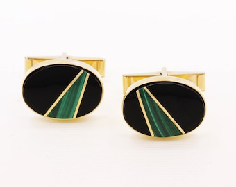 VINTAGE Lindsay and Co. 14K Yellow Gold Onyx & Malachite Men's Retro 1950s Cufflinks