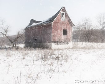 Old Barn, Old shack, Swayback Barn -  Snowy Landscape, Rustic Country, Winter White, Snow, Color Photography, Home Decor