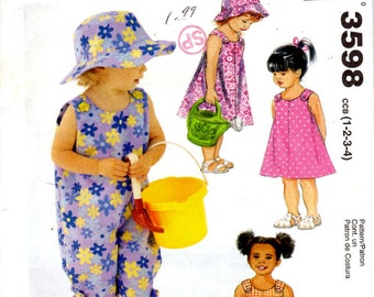 McCalls 3598 Sewing Pattern - Toddler Girls' Dress Rompers Hat and Panties for Summer - Sizes 1 to 4