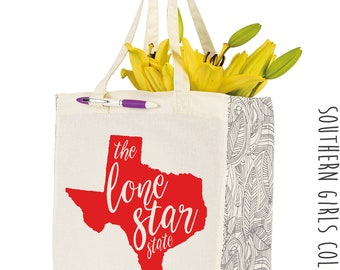 The Lone Star State Texas Cotton Market Tote Bag - Canvas Farmers Market Tote - Reusable Bag - Southern Girls Collection State design