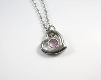 June Birthstone Necklace - Heart - June Necklace - Purple Birthstone Necklace - June Birthday Necklace - Amethyst Purple - Crystal