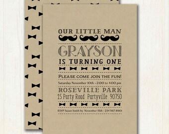 Little Man 1st Birthday Invitation - Moustache - Mustache 1st Birthday Invitation - Little Man Invitation - Printable - Digital