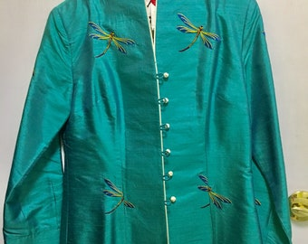 Vintage 80's aqua blue embodied dragonfly 100% Thai Silk Fully Lined Blazer size M in brand new condition