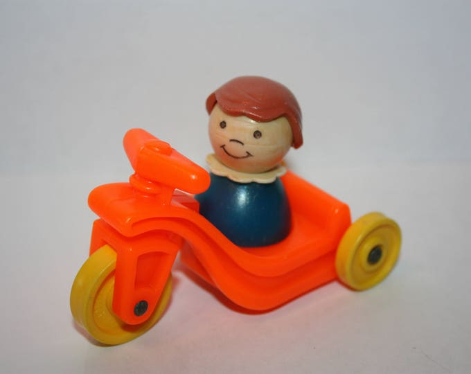 Vintage Fisher Price Little People Play Family Little Riders Tricycle with Girl Figure
