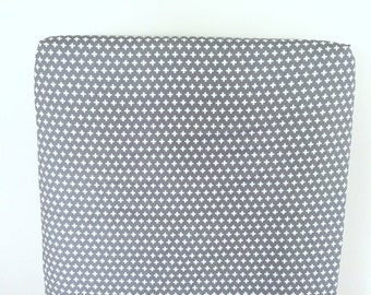 Fitted Crib Sheet - Baby Bedding in Grey and White Plus Signs