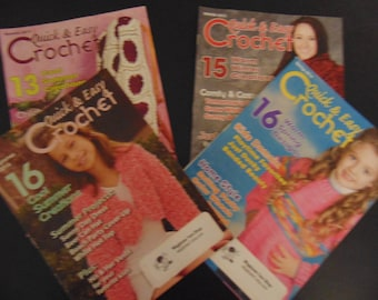 Quick & Easy  Magazine set of 4 Crochet patterns - Summer 2013 Winter 2013 Summer 2014Spring 2014