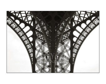 Eiffel Tower Photo, Paris France, Black and White, Abstract Photography, Gift for Architect