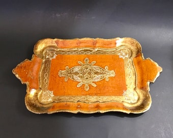 Vintage Wooden Florentine Orange and Gilt Tray with Handles, made in Italy