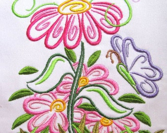Outline Spring Flowers Machine Embroidery Design - Outline Spring Flowers Embroidery - Embroidery Flowers - Flowers Embroidery Design