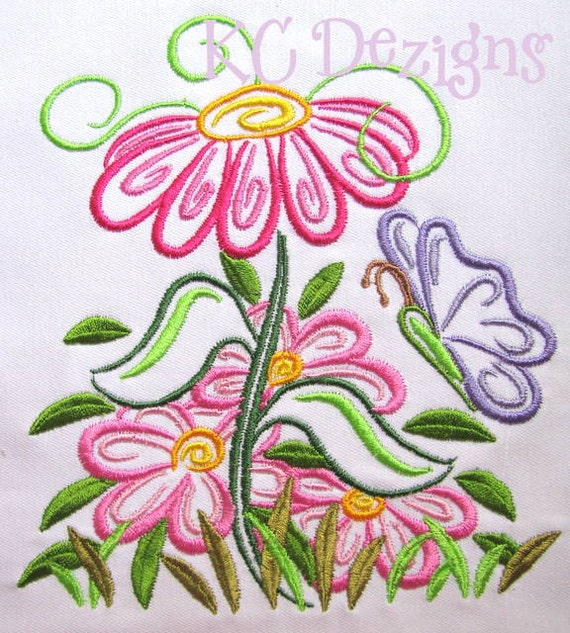 Outline spring flowers machine embroidery design outline mightylinksfo