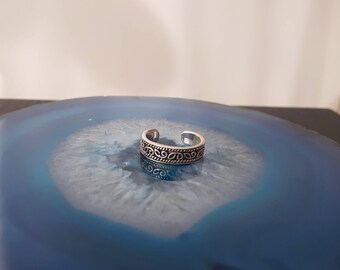 Vintage Scroll Band Toe Ring Sterling Silver 925 Size 2 3/4 Adjustable TR1d