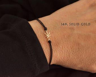 Tiny marijuana bracelet - 14K solid yellow gold - adjustable marijuana bracelet  - silk pot bracelet - mini leaf bracelet-