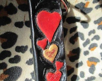 Hearts Keychain, Key chain, leather keychains, red hearts key ring, hearts fob, leather hearts, handmade hearts