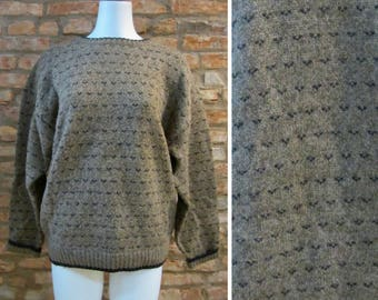 Vintage Woolrich Sweater Vintage Birdseye Check Knit Pullover Large XL Brown Wool Sweater Ski Jumper Heritage Chunky Knit Sweater Oversized