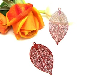 1 print pendant large filigree Red Feather - 50 * 26 mm
