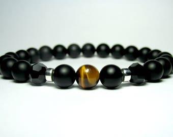 Matte Black Onyx and Tiger Eye Bracelet,Mens Beaded Bracelet, Bracelet for Men, Gift for Men, Gemstone Bracelet, Stretch Bracelet