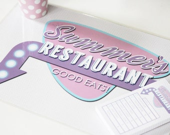 Playtime Pretend Placemat, notepad, and Menu - #Personalized #Diner #Placemat