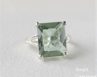 USA Amethyst Medium Sage Green Genuine Earth Mined Emerald Cut Solitaire Ring set in Sterling Silver Over 4 Carats, Gorgeous!!