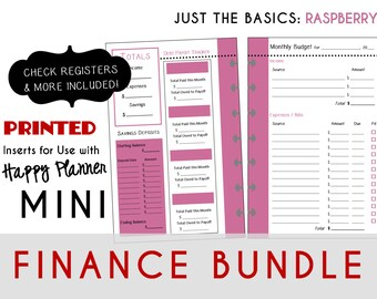 MINI Happy Planner FINANCE Bundle  Check Register, Monthly Budget, Debt Payoff Tracker, Debtor Contacts Passwords [PRINTED]  Raspberry
