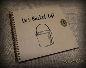 La lista de cubo personalizada boda/primer aniversario regalo Idea, Scrapbook, Foto álbum, diario, libro de la memoria, estilo Vintage