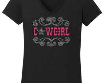 Cowgirl Star Rhinestone w/ Vinyl T-Shirt Made to order