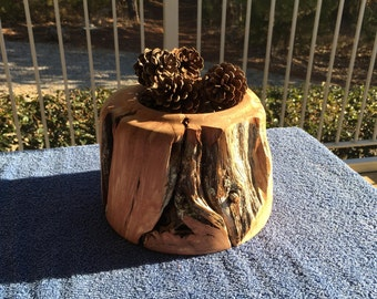 Hand Turend Aromatic Cedar Holder with Pine Cones (Heavy and Very Rustic)