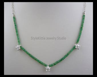 Columbian Emerald Necklace, 925 Sterling Silver, Faceted Rondelle, Flower Accents, Adjustable, Textured Chain, May Birthstone, Genuine Stone