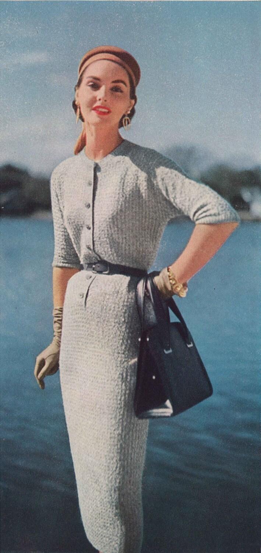 Henley Dress 1950s Knitting Sweaterdress 50s Vintage
