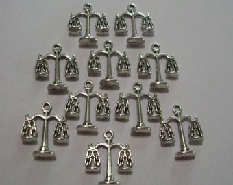 50 pieces Antique Silver Scales of Justice Charms