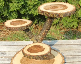 Large Log Elm Wood Rustic Cake Cupcake Stand Wedding party shower wooden 4 tiered, lumberjack party, boho party, wild things are, live edge