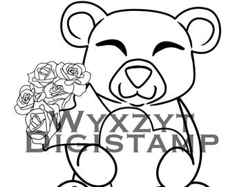 Cute teddy bear digistamp, roses and heart instant download