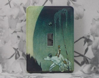 Metal Fairytale Switch Cover - 1T Single Toggle - East of the Sun and West of the Moon - Single Switch - Kay Neilson Illustrations