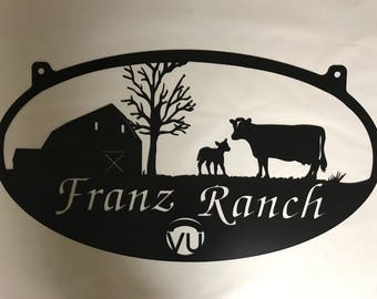 3ft Metal Sign with  barn cow calf and your ranch brand