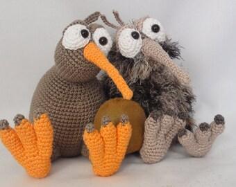 Amigurumi Crochet Pattern - Kirk and Wilma the Kiwis - English Version