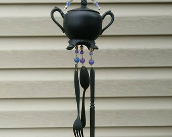 Black silverplate sugar bowl windchime, silverware chime, teapot windchime - purple
