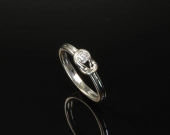 Vintage 14K White Gold Knot Diamond Engagement Ring with 16pt Diamond