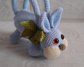 Crochet toy little rabbit, toy bag, gift, birthday present, stuffed animal