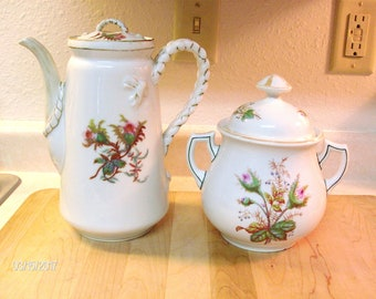 Antique MOSS ROSE Teapot and matching Cooking Pot with lid by Haviland and Co Limoges H&Co