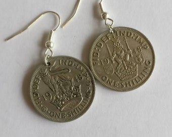 Coin Earrings, 1948 Shilling coin earrings.