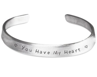 You Have My Heart Bracelet Stamped 1100 Pure Aluminum Adult One Size Fits All Adjustable Jewelry Friendship Relationship Marriage Gift