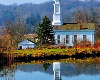 Spiritual Reflection  Art Photograph Old White Church