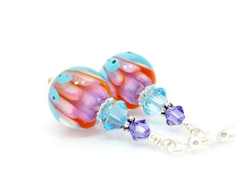 Watercolor Earrings, Colorful Earrings, Lampwork Earrings, Glass Earrings, Beadwork Earrings, Lotus Flower Earrings, Glass Art Earrings