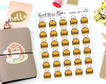 Cheeseburger Planner Stickers - Fast Food Planner Stickers - BBQ Planner Stickers - Food Planner Stickers - Cat Planner Stickers - 1366