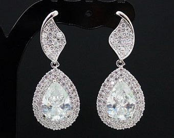 Wedding Jewelry Bridal Earrings Bridesmaid Earrings Dangle Earrings LUXURY Cubic Zirconia Tear drop Earrings Christmas gift