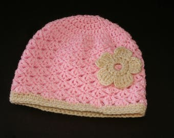 Pink and beige 12/24 months hat for girl